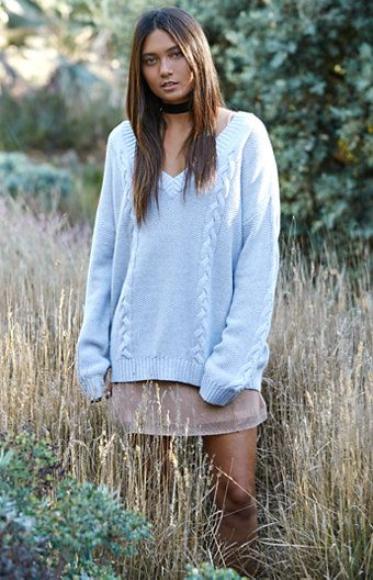 V-Neck Cable Tunic Pullover Sweater