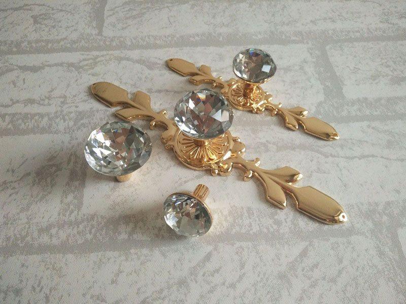 Drawer Knobs Pulls Handles Rhinestone Gold Clear Dresser Knobs Glass  Kitchen Cabinet Knobs Door Knobs Furniture