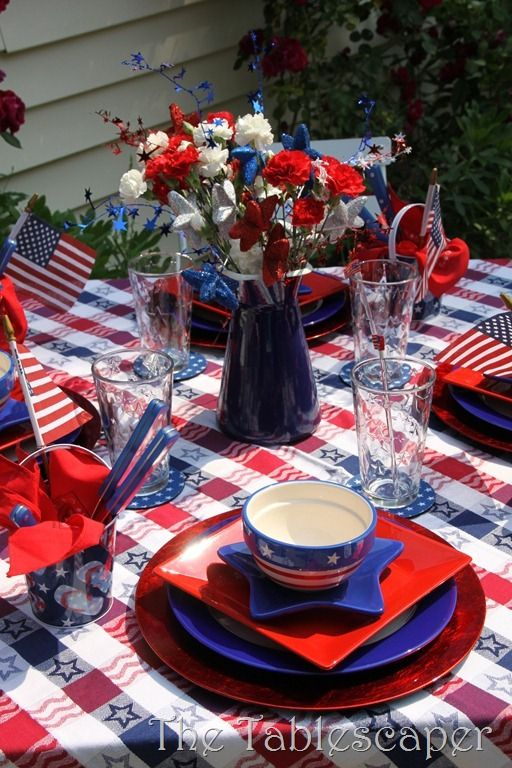 Red White And Blue Patriotic Fourth Of July Table Setting