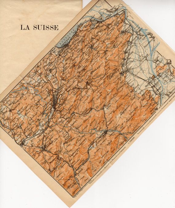 1907 St Gallen Antique Map Switzerland Sankt Gallen La Suisse