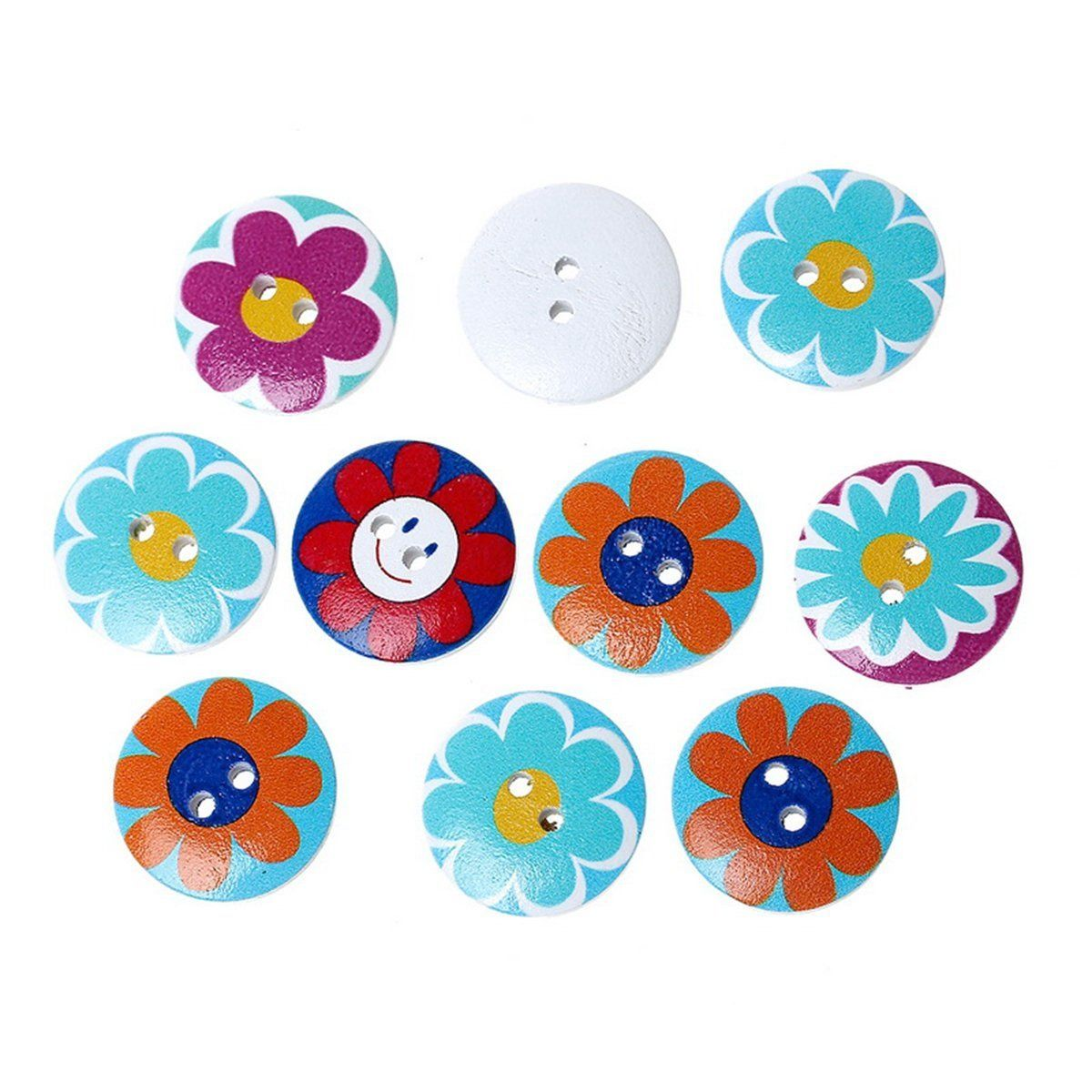 HOUSWEETY 100PCs Wooden Buttons Mixed Color Flower Round Sun 2-hole Sewing Scrapbook DIY * Want to know more, click on the image.