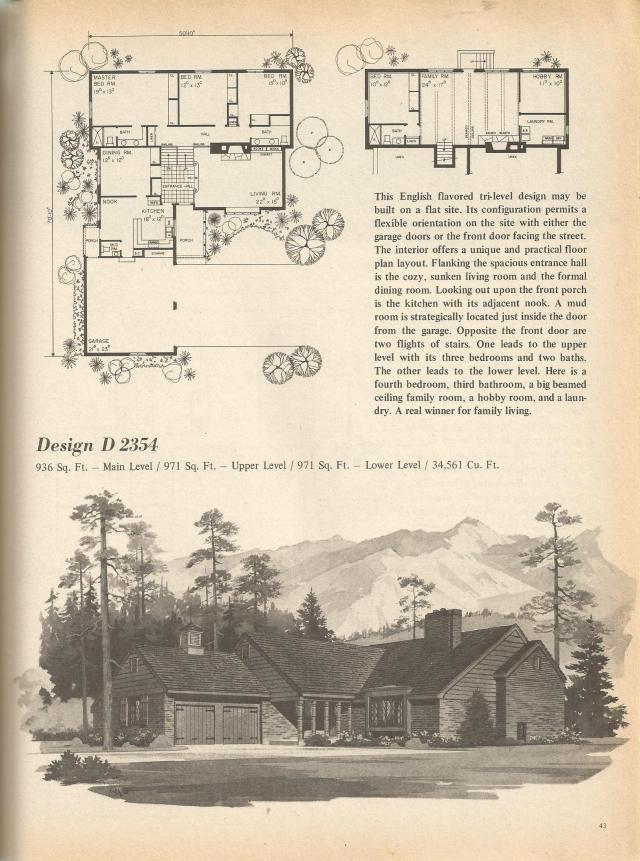 Vintage House Plans Multi Level Homes Part 5 Vintage House Plans Vintage House Architectural House Plans