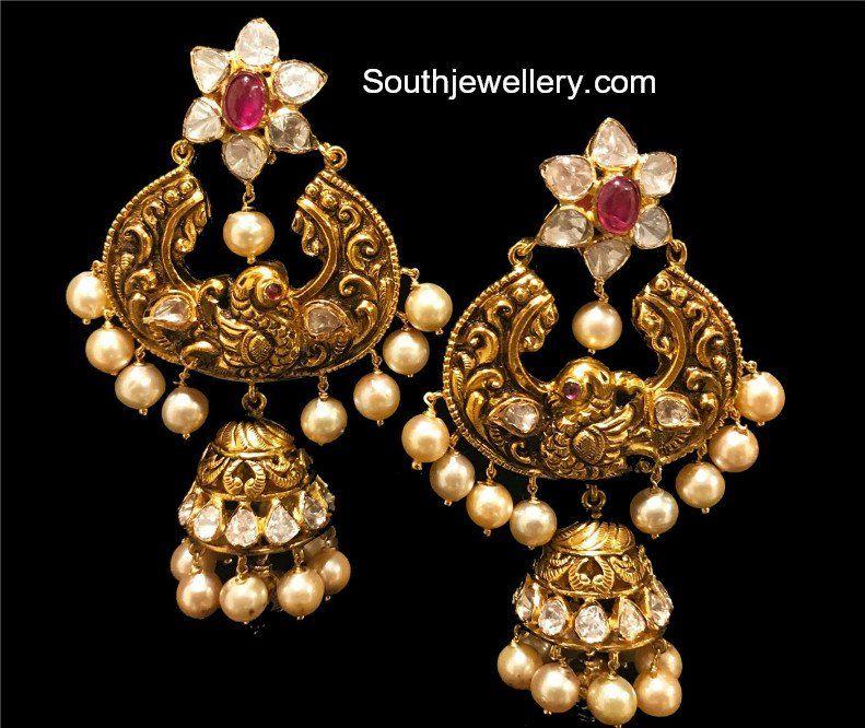 436fce221b838 Antique Pachi Chandbali Jhumka Earrings photo   Earrings   Jewelry ...