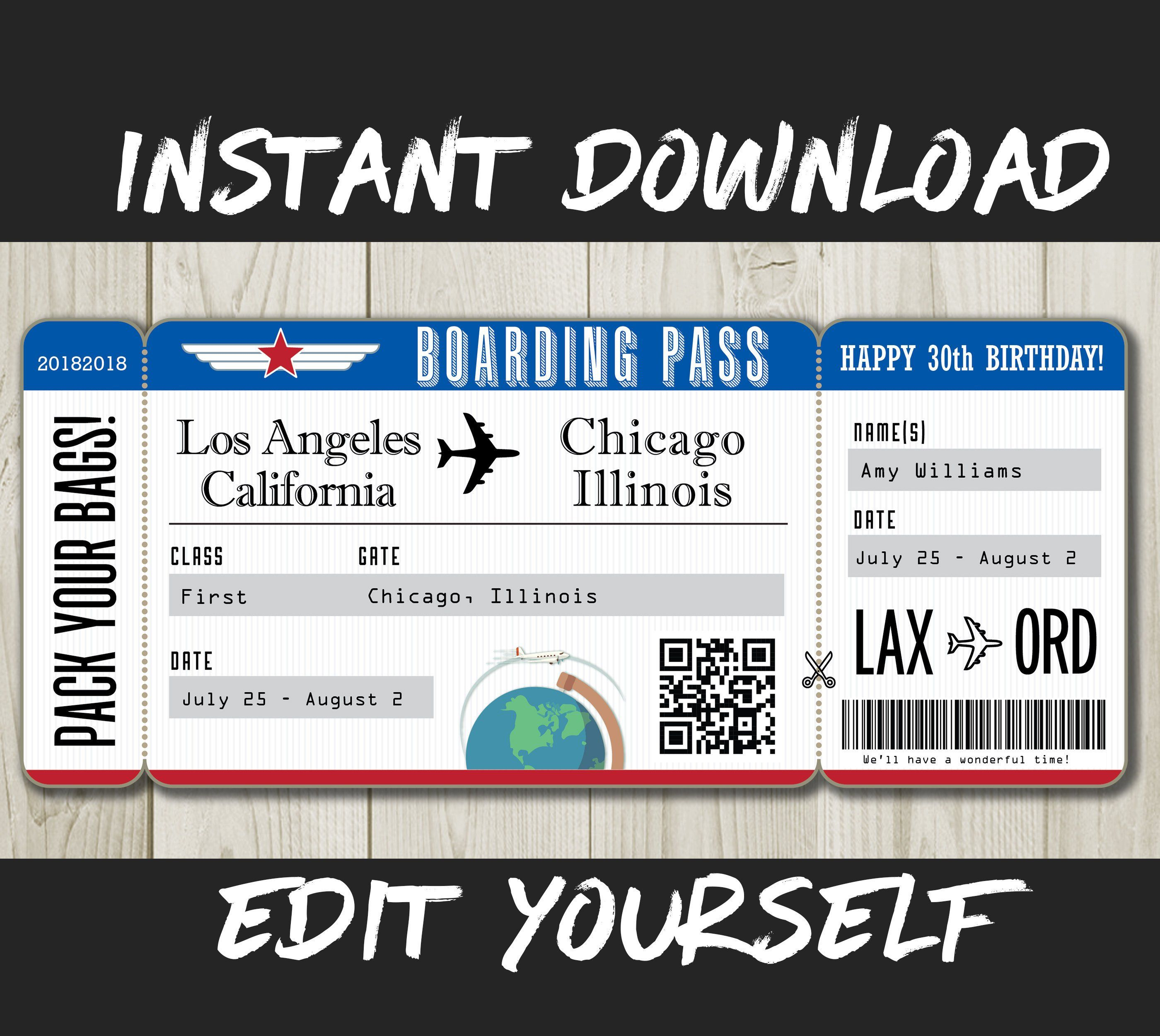 Diy Printable Editable Boarding Pass Surprise Fake Airline Ticket Trip Gift Print Airplane Flight Destination Plane Download Red White Blue In 2021 Fake Plane Ticket Boarding Pass Template Airline Tickets