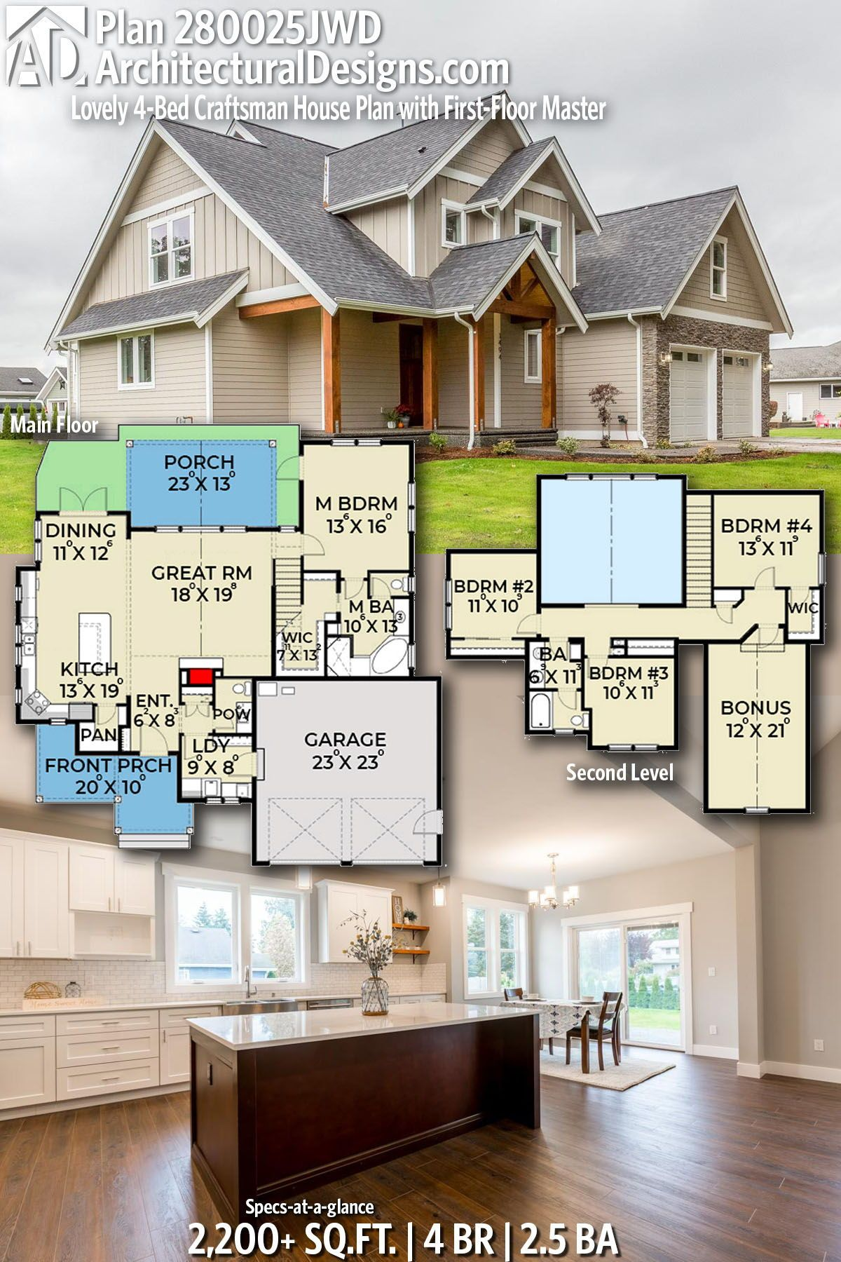 Plan 280025jwd Lovely 4 Bed Craftsman House Plan With First Floor Master In 2020 Craftsman House Plans House Blueprints House Plans