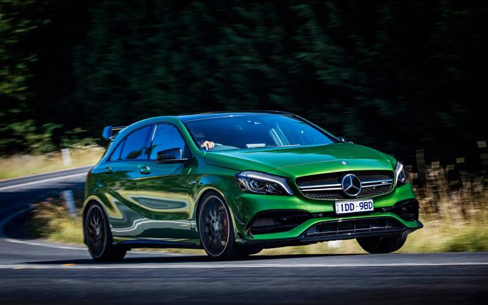 Download Wallpapers Mercedes Amg A45 4k 2017 Cars Au Spec W176 Green A45 German Cars Mercedes Besthqwallpapers Com Mercedes Amg Mercedes A45 Amg