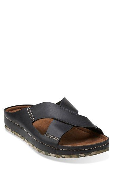 aeab475ff82a Men s Clarks  Netrix Cross  Leather Slide Sandal