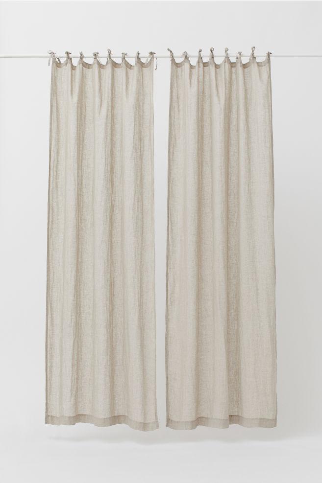 2 pack linen curtain panels light