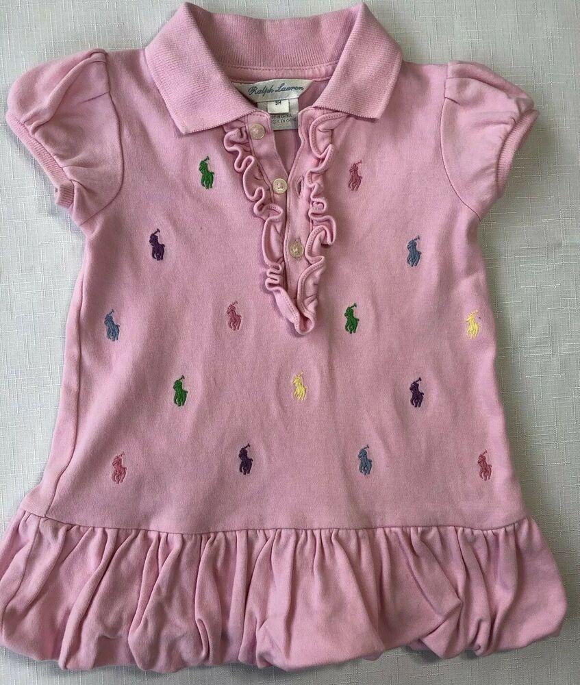 1031885a Ralph Lauren Baby Girls 9 Months Pink Pique Polo Bubble Dress Embroidered  Logos #RalphLauren #Dress #Casual