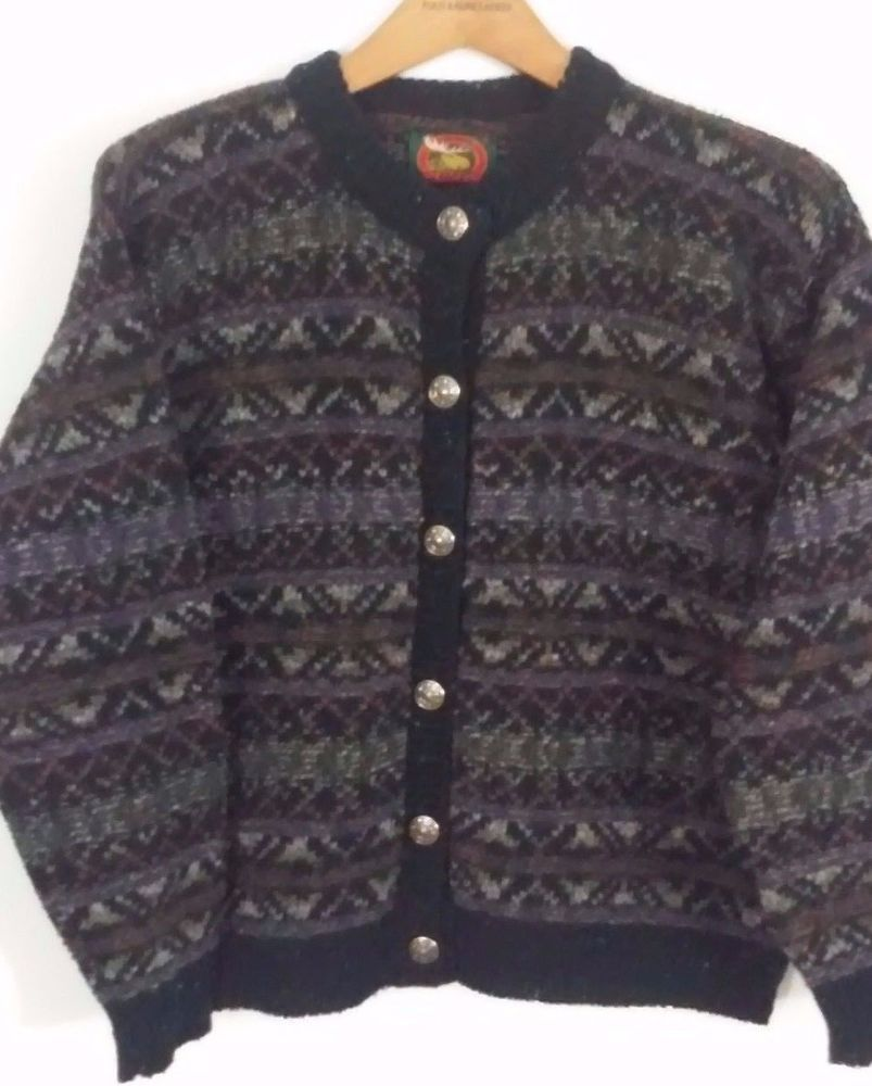 ALPS Womens Wool Blend Black Flecked Sweater Size L Cardigan Large ...