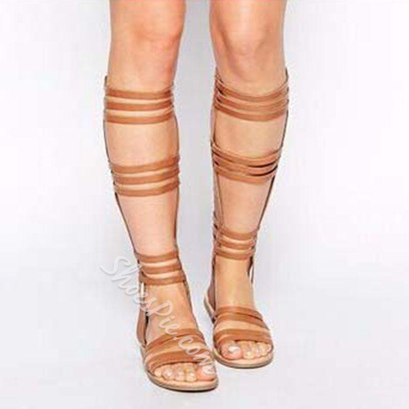 28d4c390705f Shoespie Cut Out Flat Gladiator Sandals