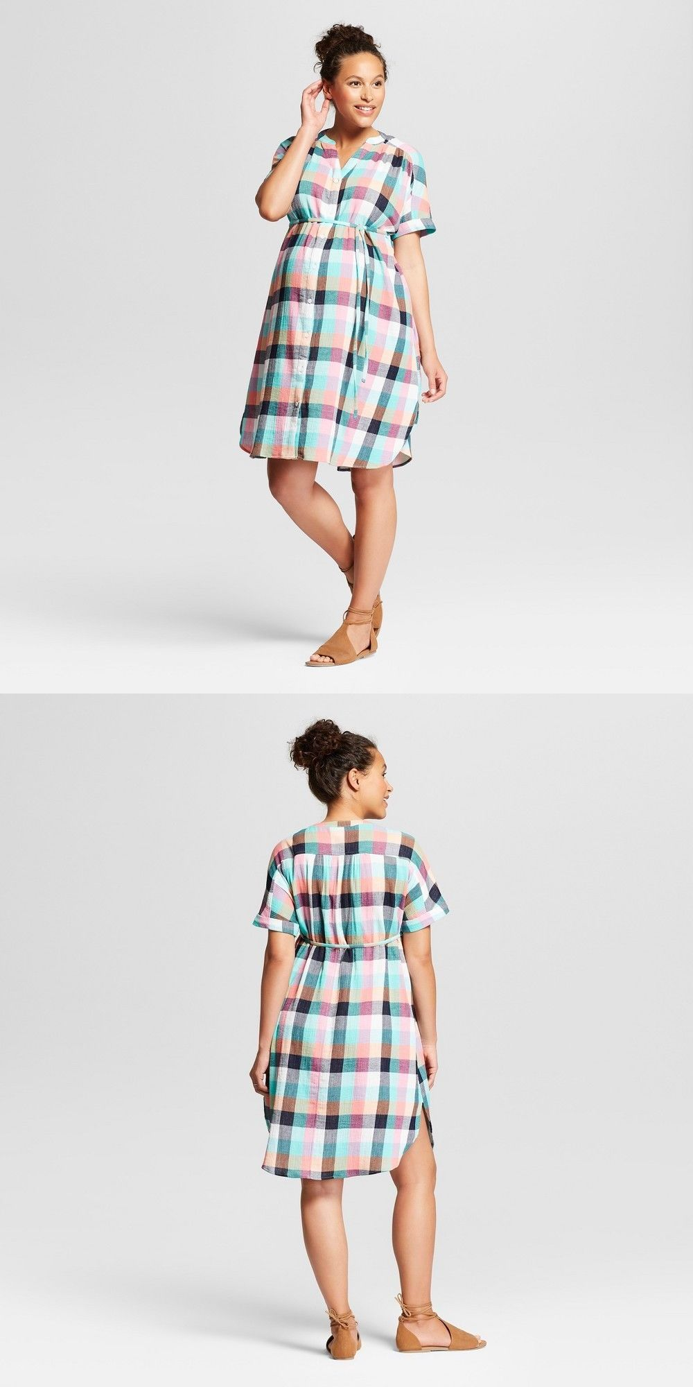 51b804e841 Dresses 11534: Ingrid And Isabel Womens Plaid Dolman Maternity Tie Waist  Shirt Dress New W Tags -> BUY IT NOW ONLY: $14.95 on #eBay #dresses #ingrid  #isabel ...