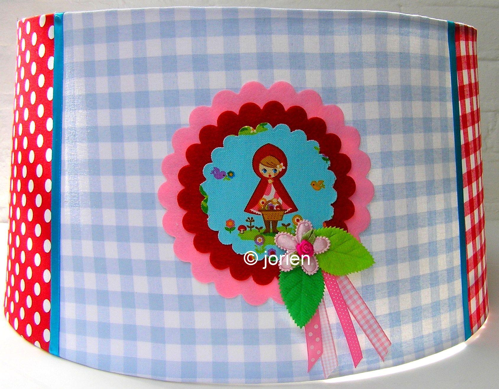 Hangende lampenkap roodkapje blauw roze sprookjes
