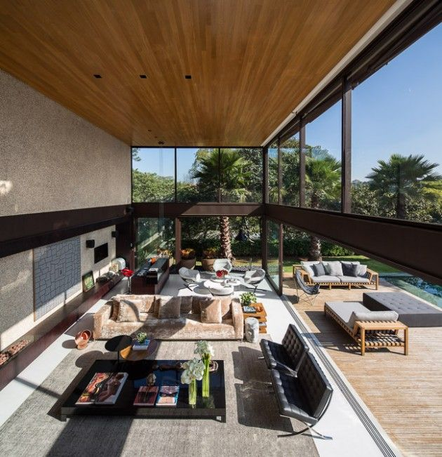 moderne residenz loft stil terrasse holz belag möbliert polstermöbel
