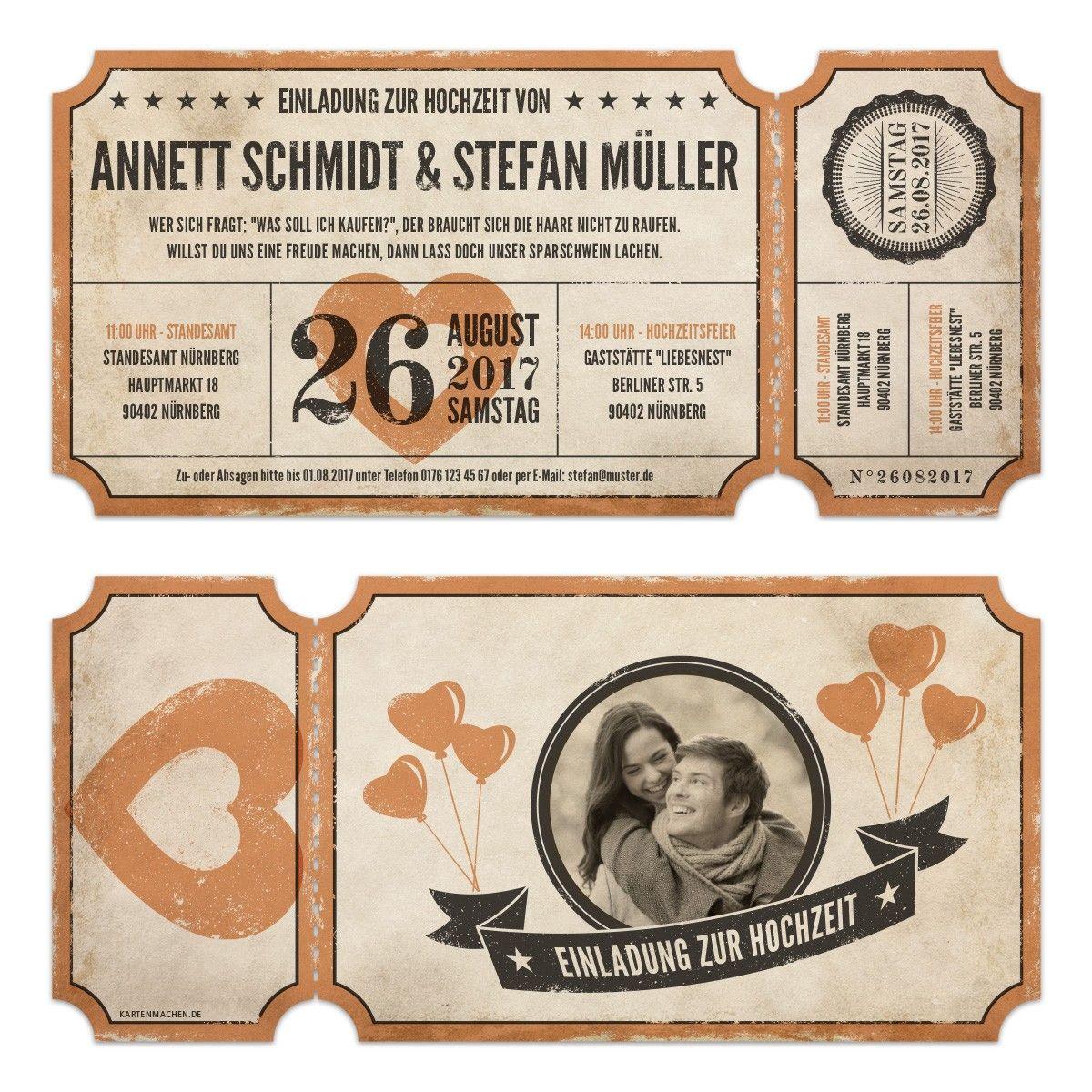 Lasergeschnittene Foto Hochzeitseinladungen - Vintage Ticket ...
