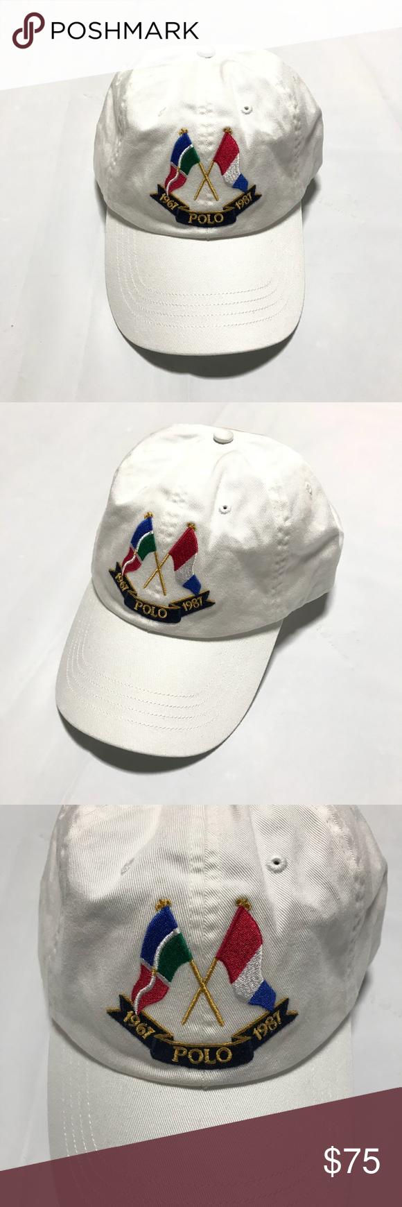 NWT Polo Ralph Lauren Anniversary Cross Flags Baseball Hat in White