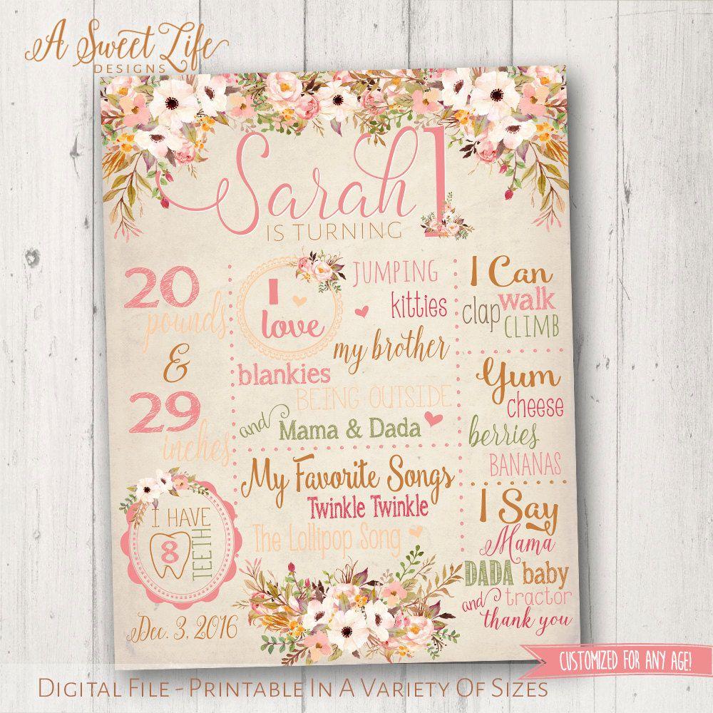Baby Girl Birthday Farmhouse Floral- Digital File Rustic Vintage Rose Boho Birthday Milestone Poster Design First 1st birthday