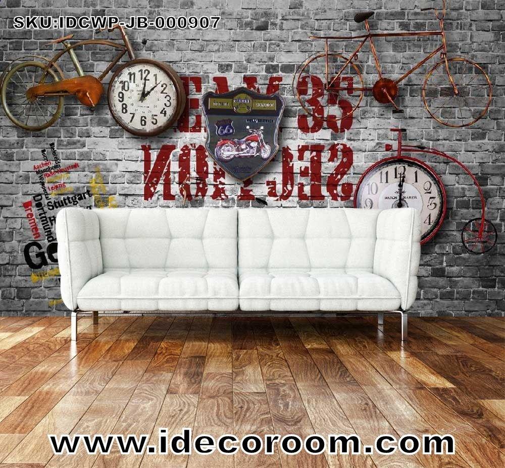 Custom Size Diy Living Room Wall Murals Black Brick Wall Wall