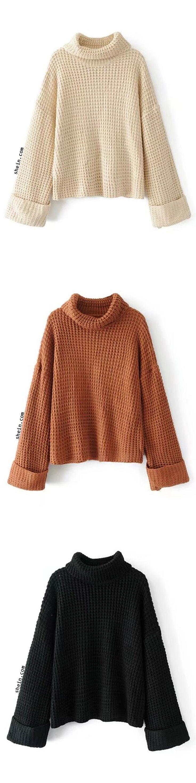 30de229b5 Turtleneck Waffle Knit Sweater