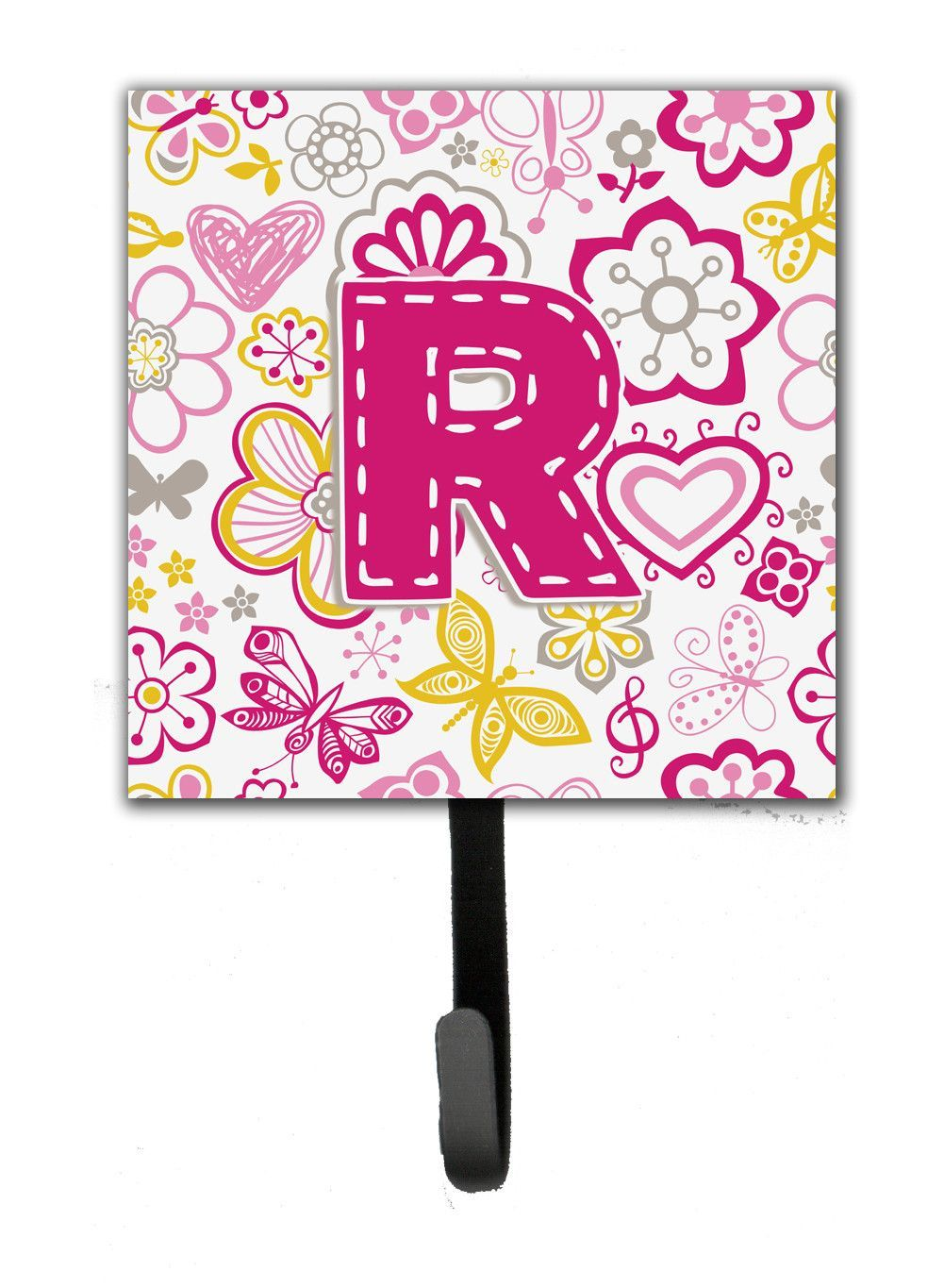 Letter R Flowers and Butterflies Pink Leash or Key Holder CJ2005 ...