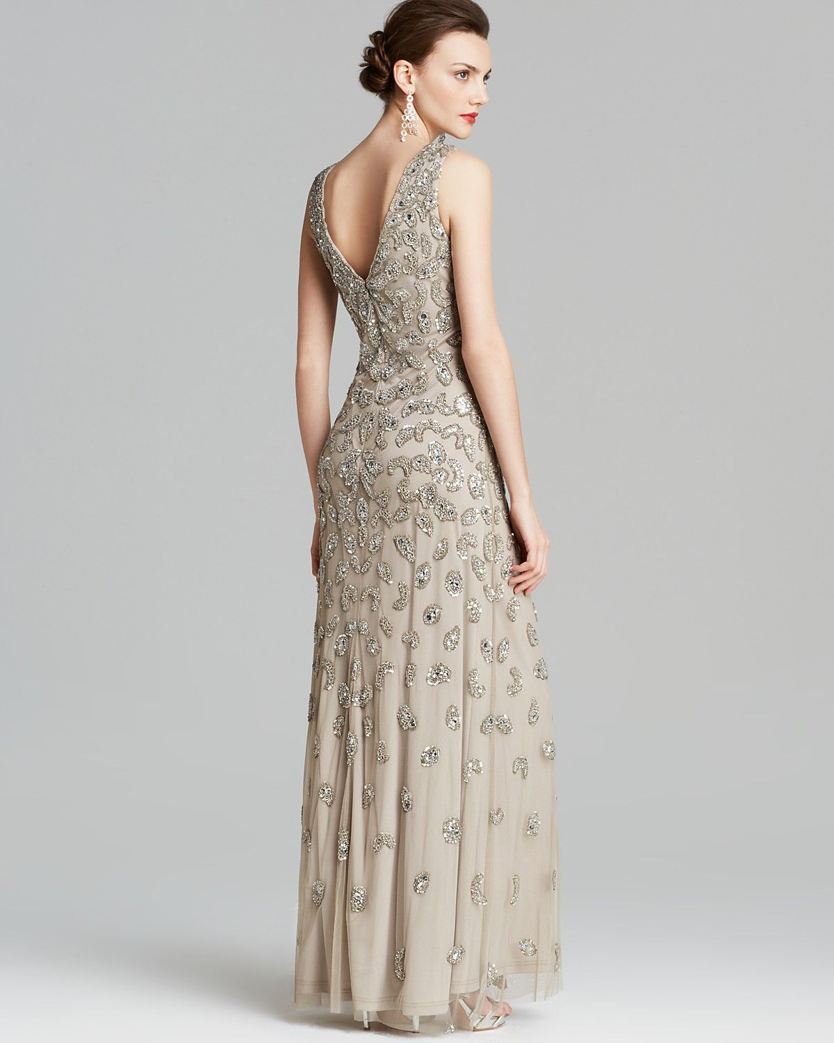 Aidan Mattox Gown - Sleeveless V Neck Beaded | Bloomingdale\'s ...
