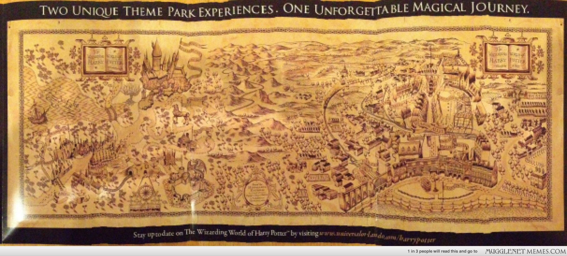 Artistic Map of Hogsmeade and the New Diagon Alley in the Wizarding ...