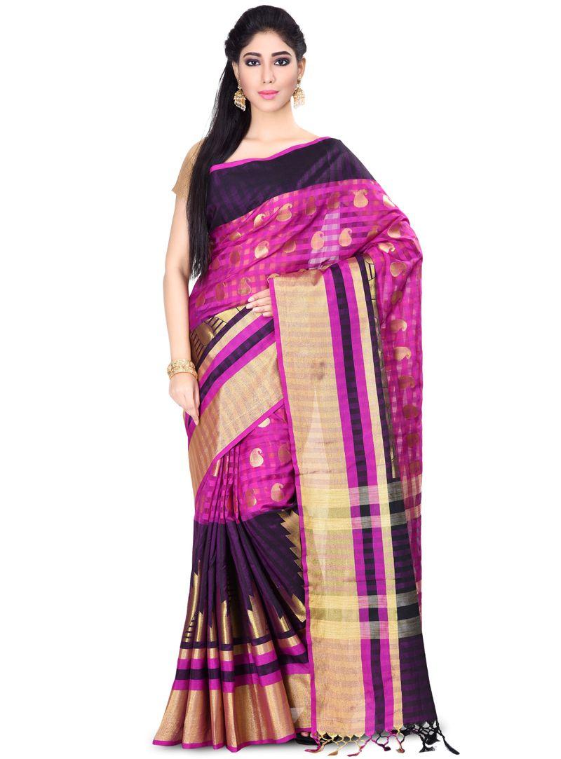 Yellow silk saree magenta cotton festival wear saree   cotton saree  pinterest