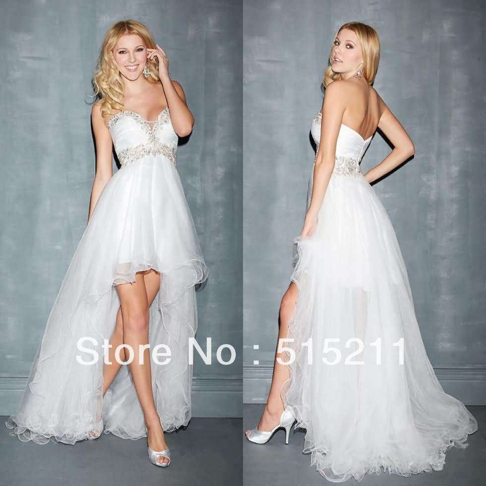 Asymmetric style elegant appliques sweetheart white tulle high low
