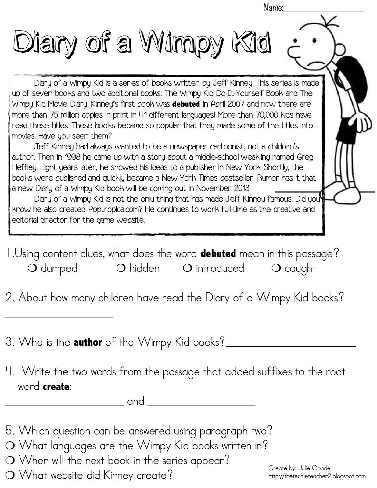 Diary of a Wimpy Kid Reading Passage FREEBIE