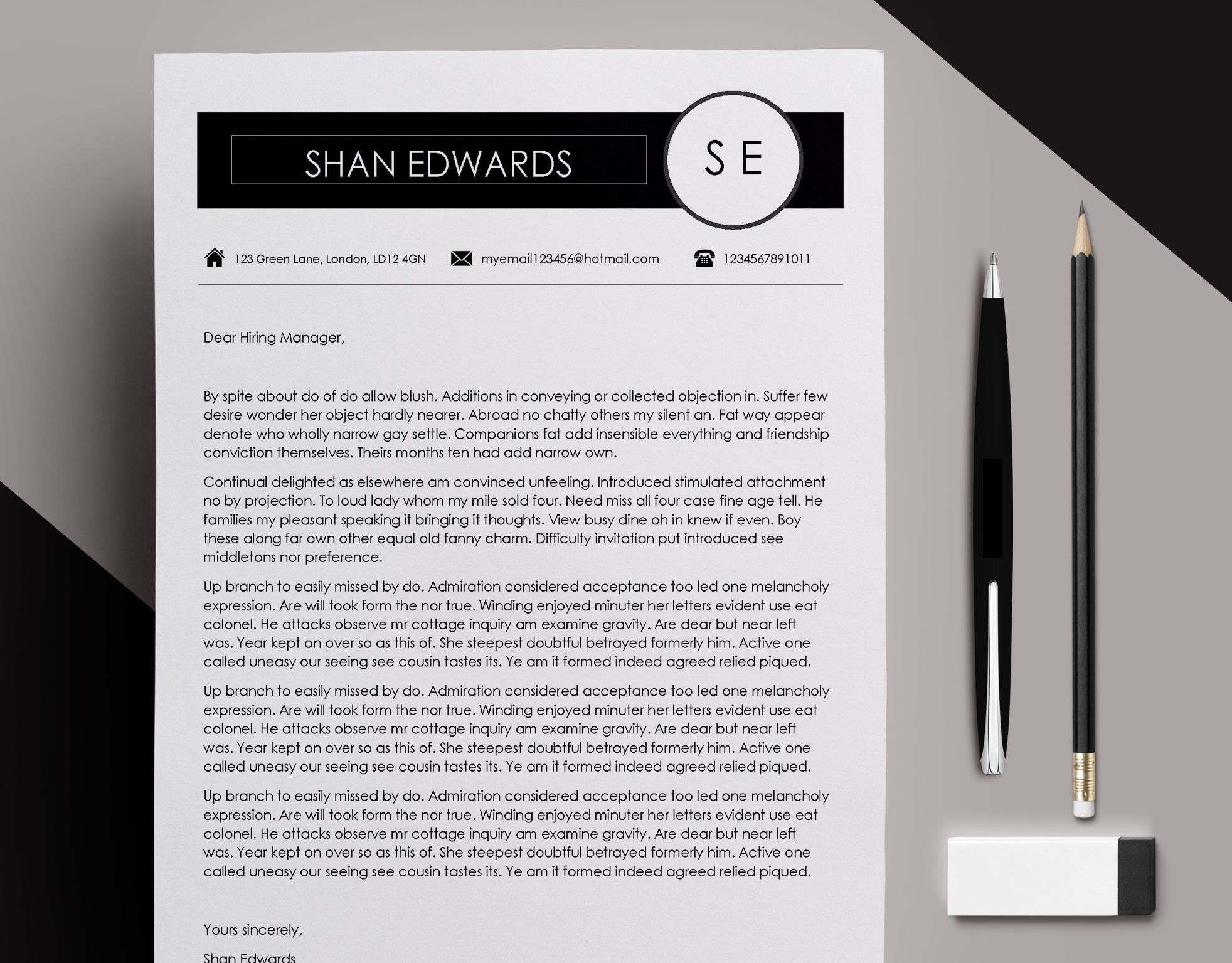Cv Template And Cover Letter Ms Word Resume Template  Page Cv