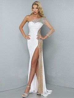 Long Sleeve Sweep Train Tulle Silk-like Satin Split Front Ivory One Shoulder Prom Dress -$158.29
