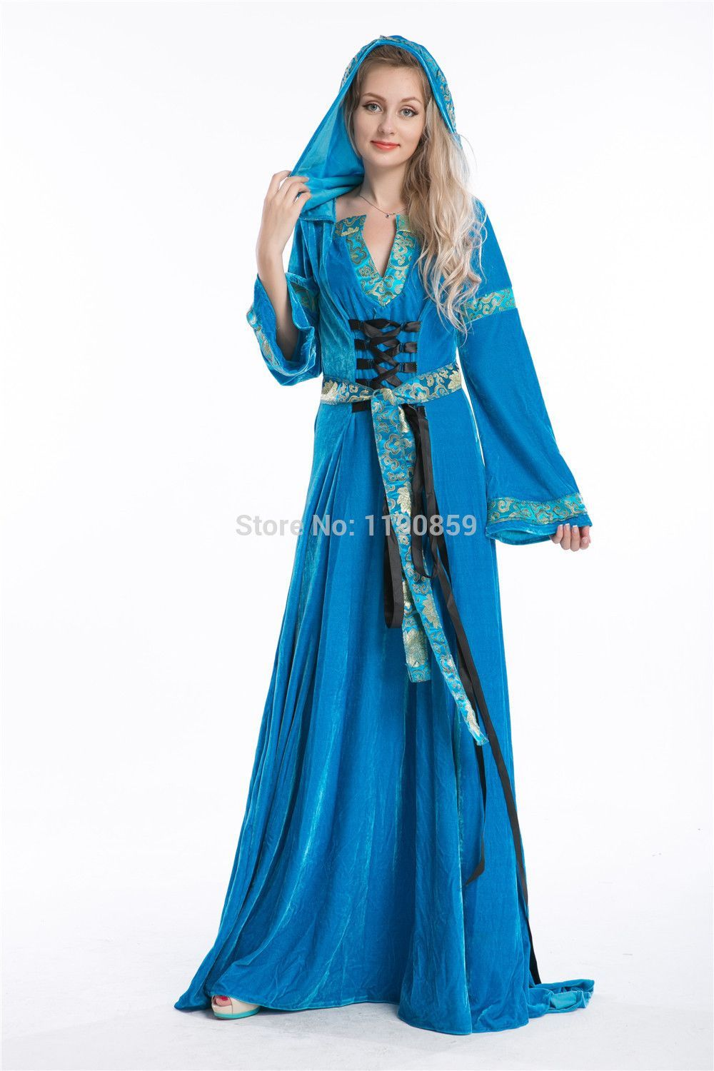 Free shipping Blue Medieval Fancy Dress Renaissance Gown Game of ...