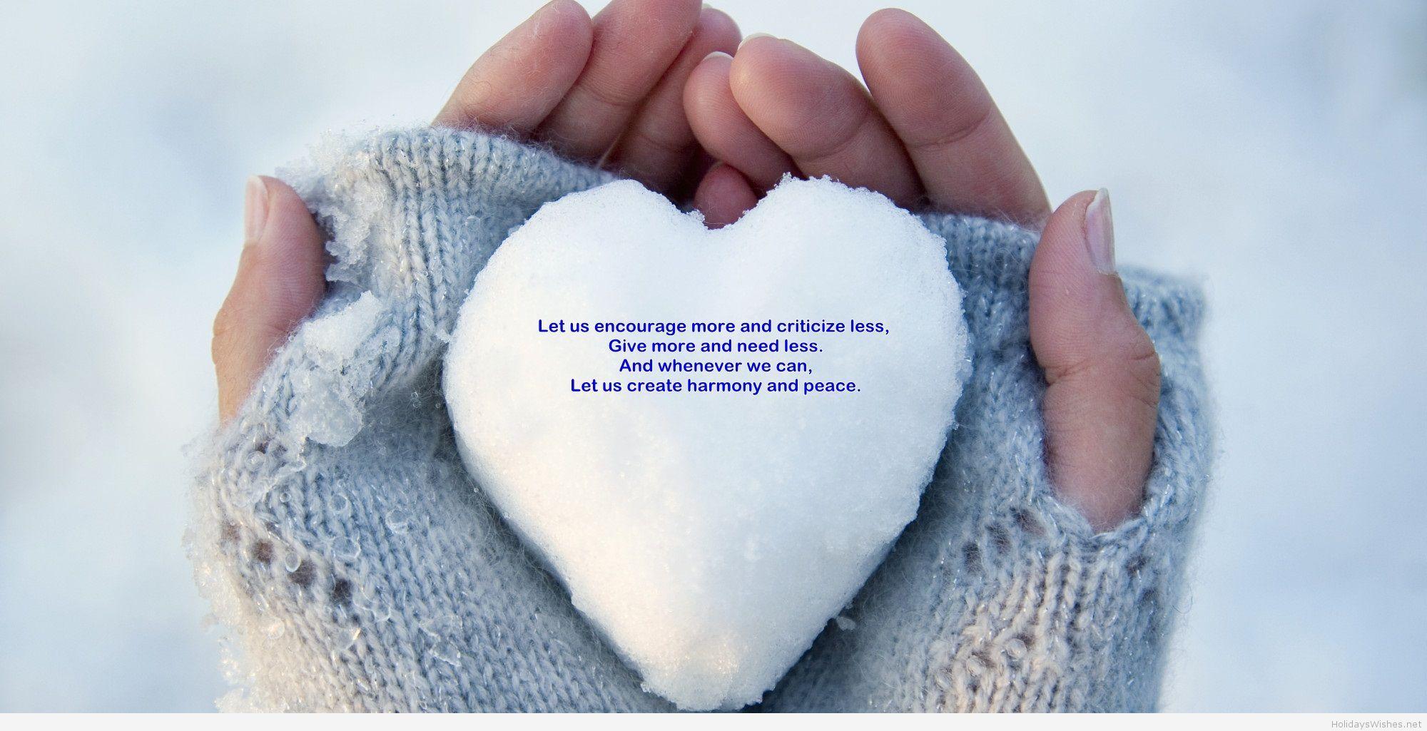 Love heart of snow happy new year 2015
