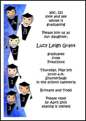 ABCs Counting Kindergarten Preschool Graduation Invitations