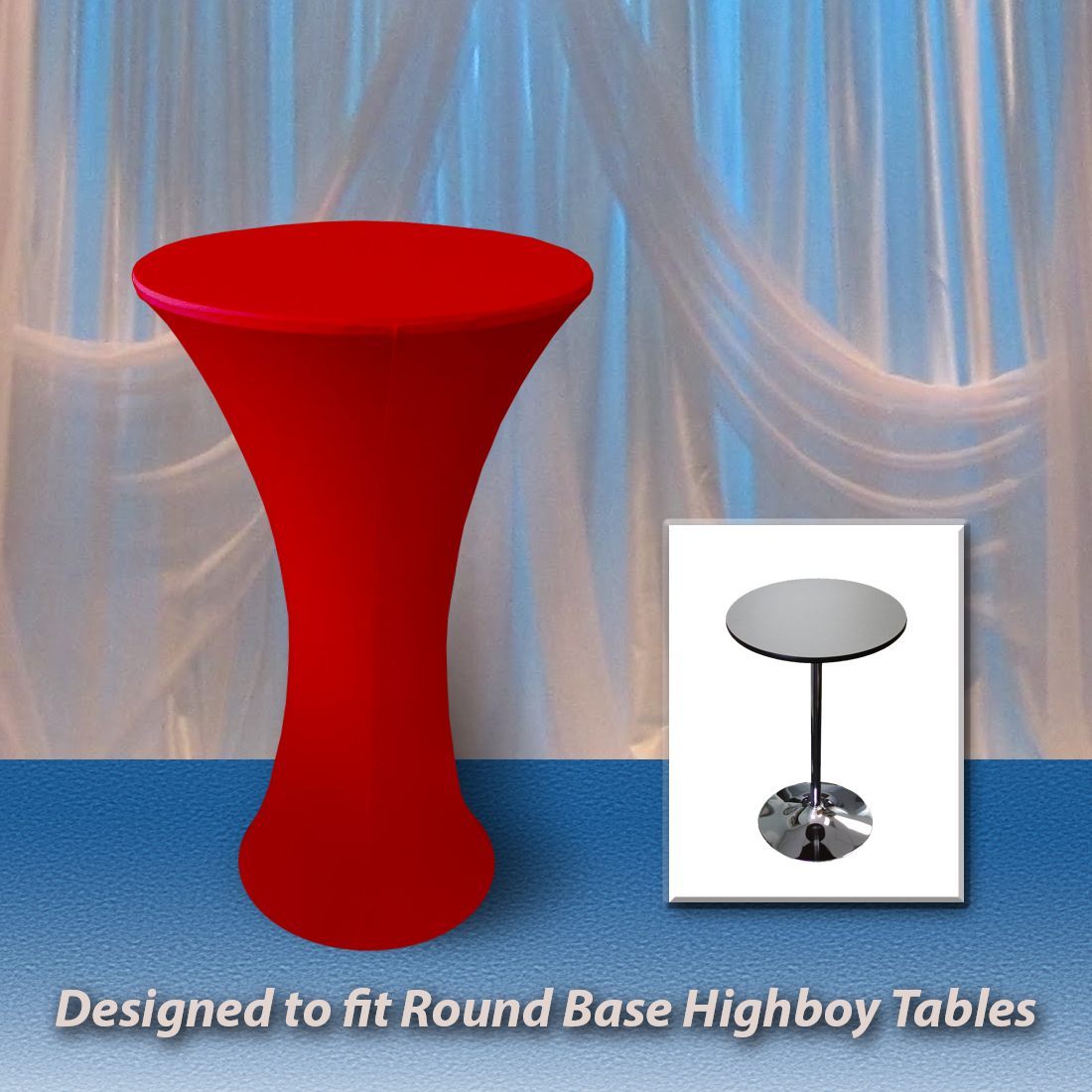 Spandex Round Fitted Tablecloth For 30 Round Highboy Table 42 Tall With  Roundu2026