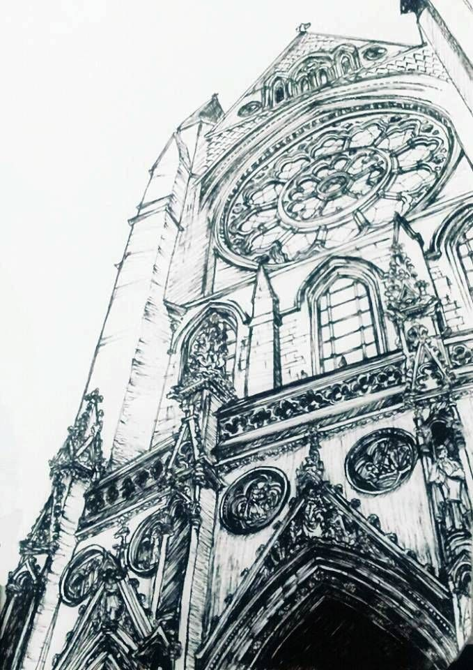 Architecture Art Sketch Gothic Church Pen Drawing Perspective