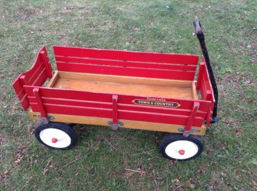 Vintage Radio Flyer Red Town Country Wood Wagon Removable Side Rails Free S H Wood Wagon Vintage Radio Town And Country