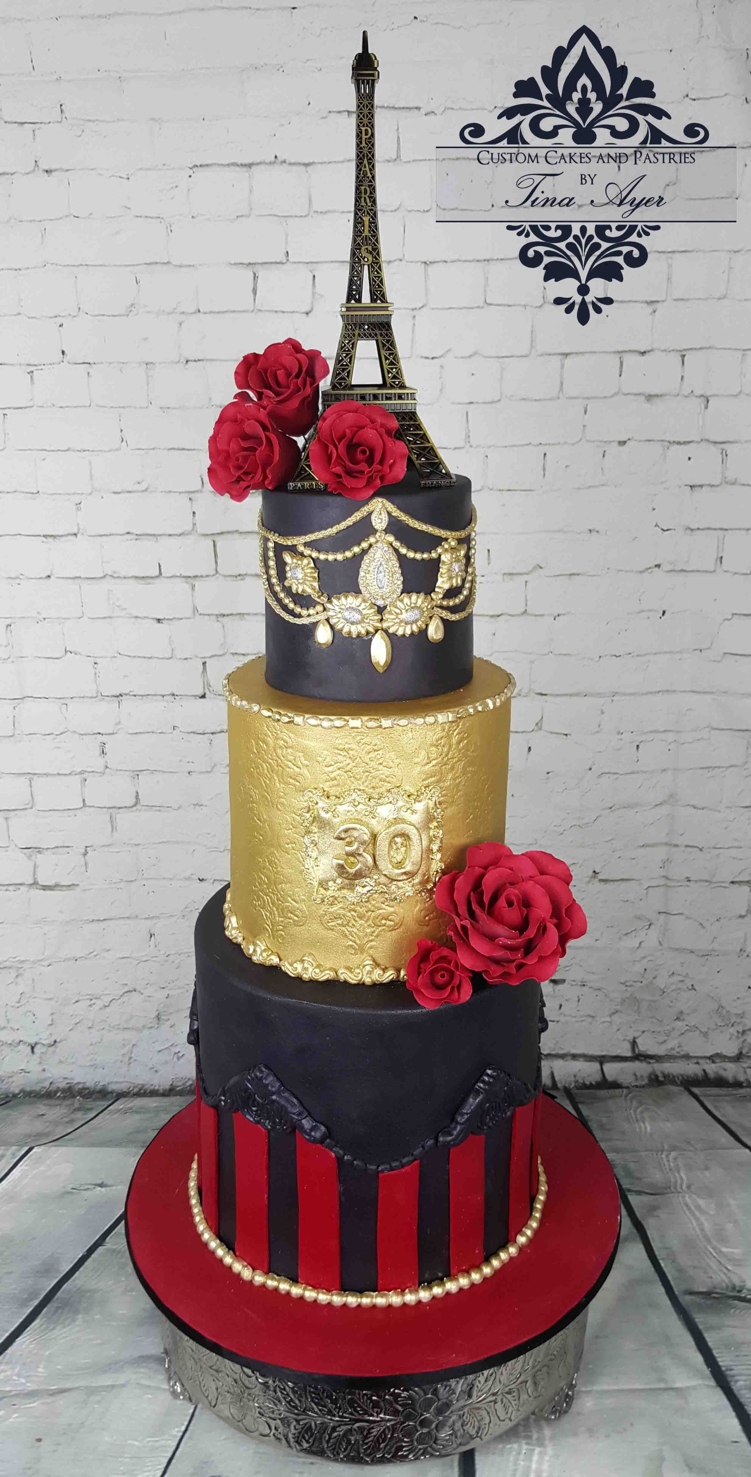 Moulin Rogue Themed Cake Paris Parisian Party Red Black And