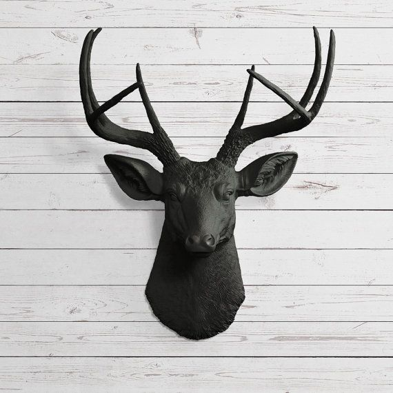 The Virginia In Black Faux Deer Head Fake Animal Resin Ceramic Taxidermy Plastic Antler Fauxidermy Decorative Mount Wall Mounted Replica On Etsy 84 97