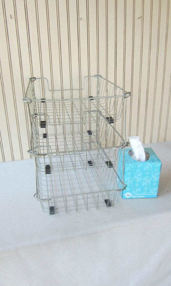 Wire Basket Mail Sort In Out Tray Retro Office Mad Men Vintage ...