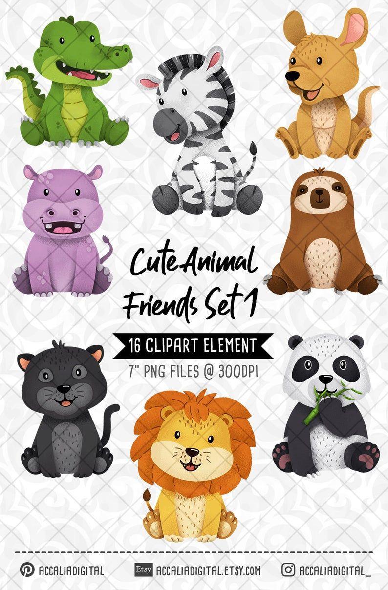 Safari Animals Clipart Lion Fox Forest Friends Sticker Etsy Cute Animal Clipart Animal Clipart Cute Animals