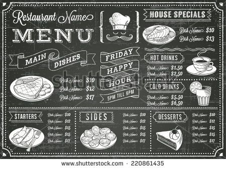 A full vector template Chalkboard menu for restaurant and snack - bar menu template