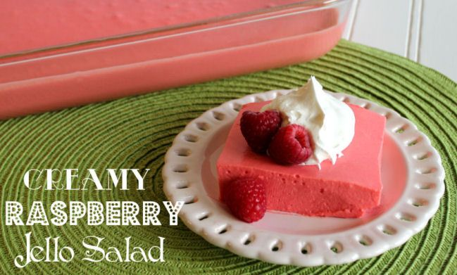 Creamy Raspberry Jello Salad Raspberry Jello Salad Jello Recipes Dessert Recipes