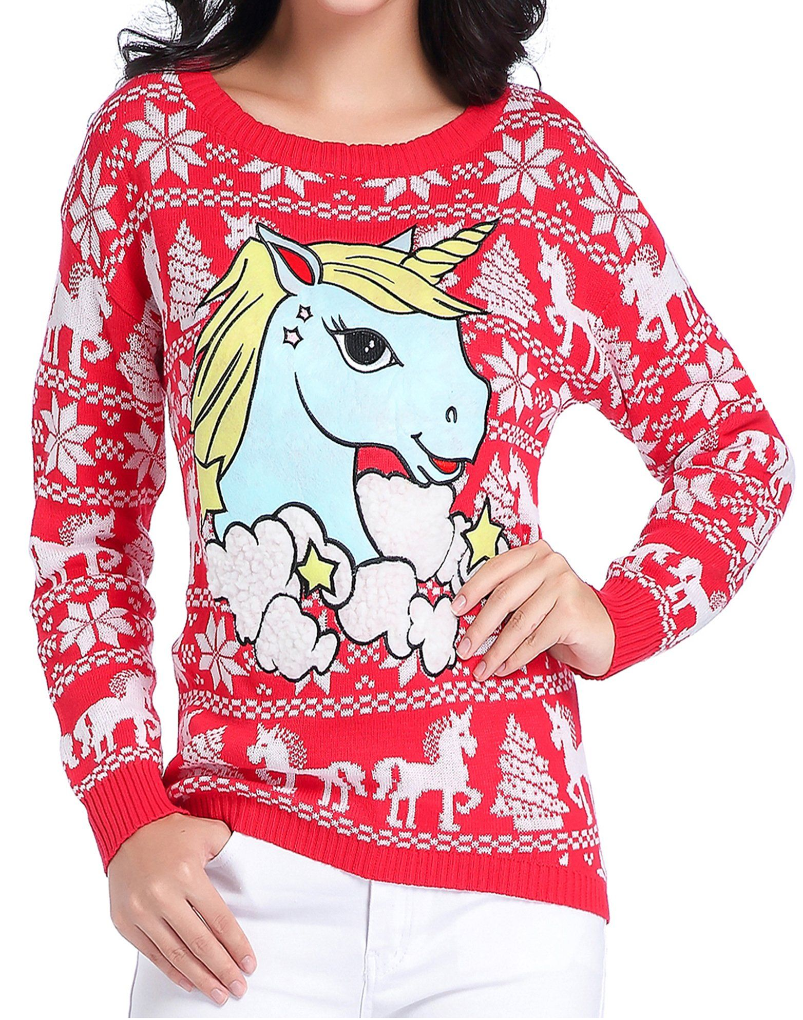 v28 Ugly Christmas Sweater, Women Girl Junior Unicorn Clothes Jumper ...