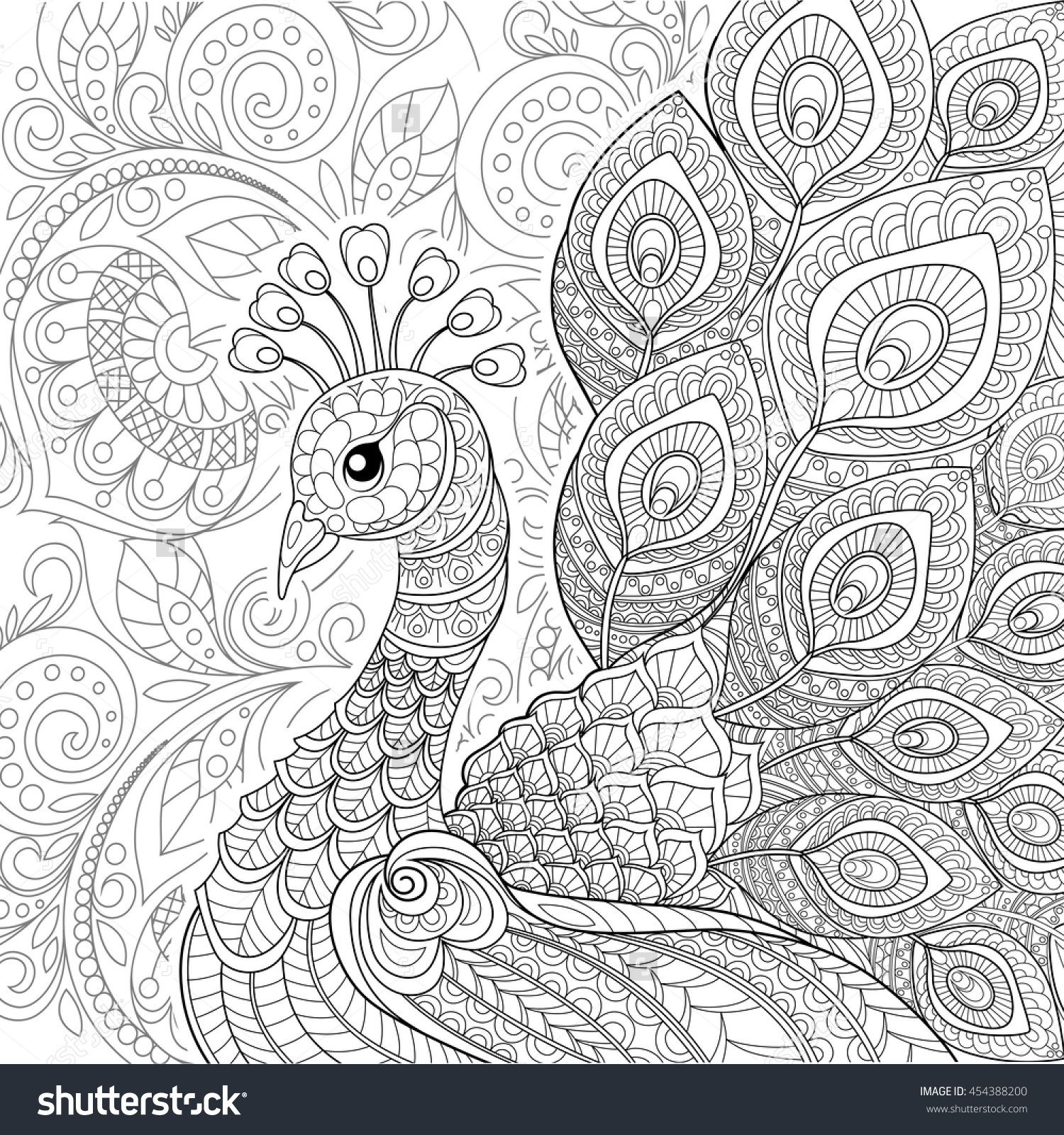 Peacock In Zentangle Style Adult Antistress Coloring Page Black