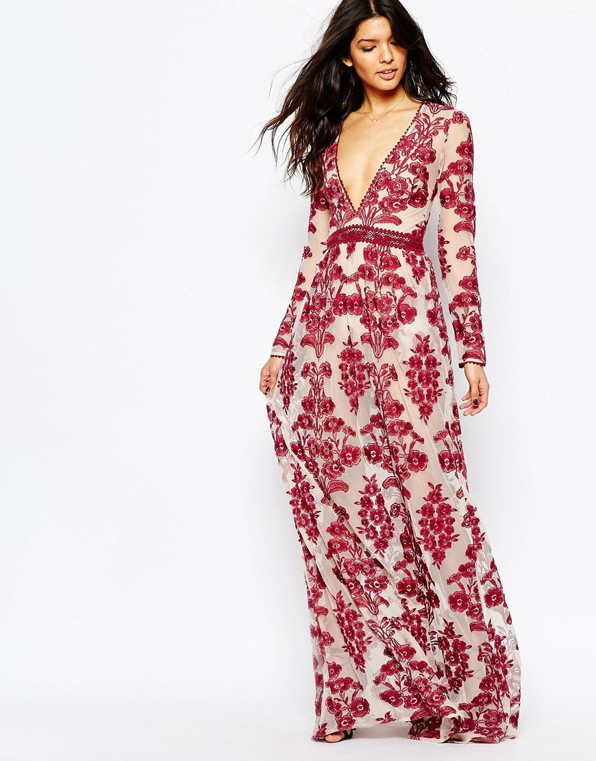 Vestido largo con bordados en rojo Temecula de For Love and Lemons ...