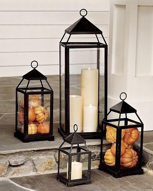 Baby pumpkins in lanterns, so cute!