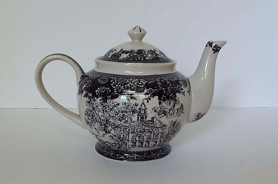 Small Black Transferware Tea Pot Colonial Virginia Toile Pattern ...