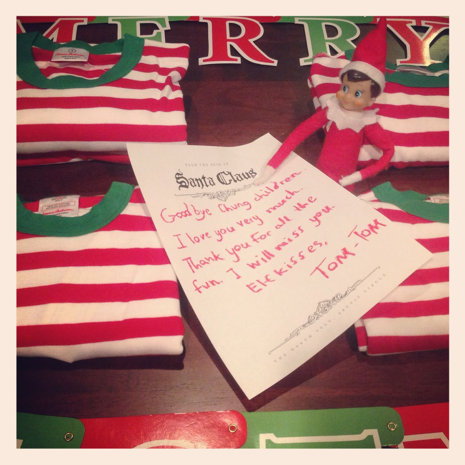 Goodbye Note From Elf On The Shelf With New Pajamas On Christmas