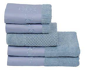 Jogo de Banho Bilro 250 Fios Full - Azul Jeans